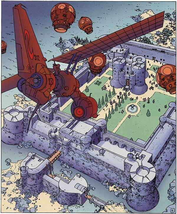 Le Centre maître attaqué par des engins venus de l'espace. Première planche de L'Homme sans réalité, sixième tome de la série publié en 1991. © Les Humanoïdes associés.