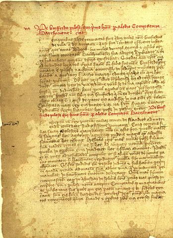 Gesta Comitum Barchinonensium qui relate le début de la légende de Guifred le Velu (Source : Wikimédia)