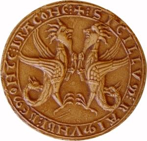 """Avers du Sceau de Raimond de Montdragon.  Description : Deux dragons à la queue terminée par une tête de griffon, et à têtes humaines se tenant """"par la barbichette"""". Légende : + : SIGILLVM : RAIMUNDI : DE : MONTE : DRACONE"""