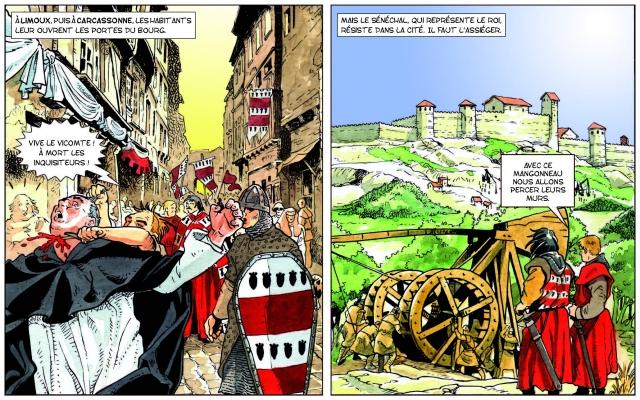 Le siège de Carcassonne vu par Claude Pelet et Gauthier Langlois dans la BD L'Aude dans l'Histoire, éditions Aldacom, 2006.
